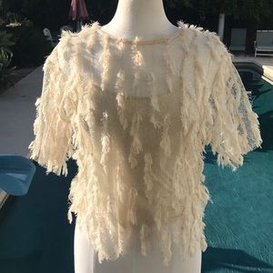 Exquisite Zara cream feathered sweater fully lined